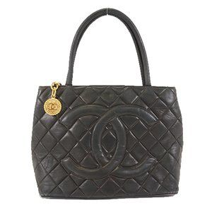 Authentic CHANEL Medallion lambskin tote